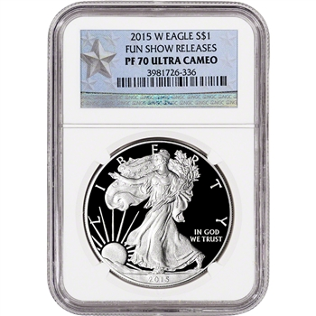 2015-W American Silver Eagle Proof - NGC PF70 UCAM - WP Star Label - FUN Show