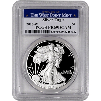 2015-W American Silver Eagle Proof - PCGS PR69 DCAM - West Point Label
