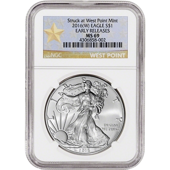 2016-(W) American Silver Eagle - NGC MS69 - Early Releases - West Point Star