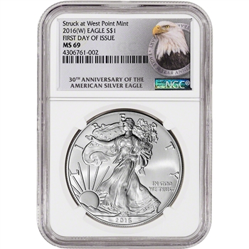 2016-(W) American Silver Eagle - NGC MS69 - First Day of Issue - 30th Ann Label