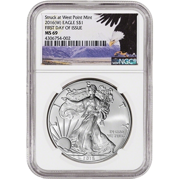 2016-(W) American Silver Eagle - NGC MS69 - First Day of Issue - Bald Eagle