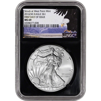 2016-(W) American Silver Eagle - NGC MS69 - First Day of Issue Bald Eagle Retro
