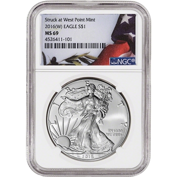 2016-(W) American Silver Eagle - NGC MS69 - Flag Label