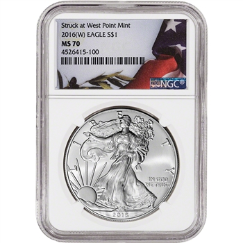 2016-(W) American Silver Eagle - NGC MS70 - Flag Label