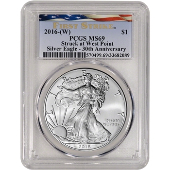2016-(W) American Silver Eagle - PCGS MS69 - First Strike - Ribbon Flag Label