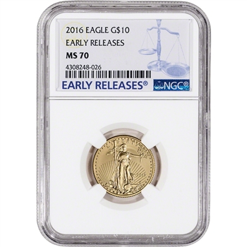 2016 American Gold Eagle (1/4 oz) $10 - NGC MS70 - Early Releases Large Label
