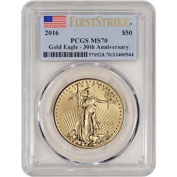 2016 American Gold Eagle (1 oz) $50 - PCGS MS70 - First Strike
