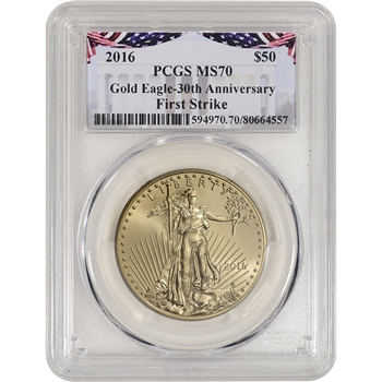 2016 American Gold Eagle (1 oz) $50 - PCGS MS70 - First Strike Bunting Label