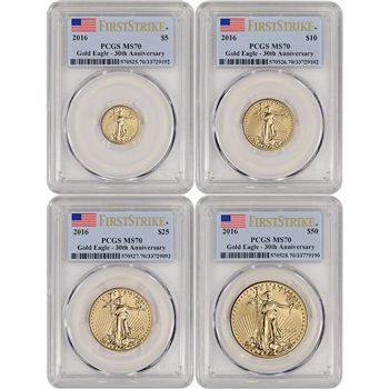 2016 American Gold Eagle 4-pc Year Set - PCGS MS70 - First Strike