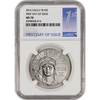 2016 American Platinum Eagle (1 oz) $100 - NGC MS70 - First Day Issue 1st Label