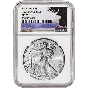 2016 American Silver Eagle - NGC MS69 - First Day of Issue - Bald Eagle Label