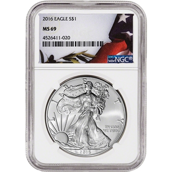 2016 American Silver Eagle - NGC MS69 - Flag Label