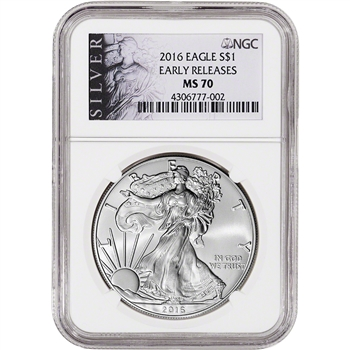 2016 American Silver Eagle - NGC MS70 - Early Releases - ALS Label