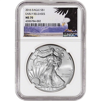 2016 American Silver Eagle - NGC MS70 - Early Releases - Bald Eagle Label