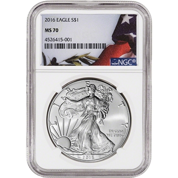 2016 American Silver Eagle - NGC MS70 - Flag Label