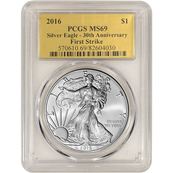 2016 American Silver Eagle - PCGS MS69 - First Strike - Gold Foil Label