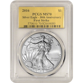 2016 American Silver Eagle - PCGS MS70 - First Strike - Gold Foil Label
