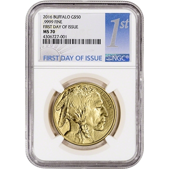 2016 American Gold Buffalo (1 oz) $50 - NGC MS70 - First Day of Issue 1st Label