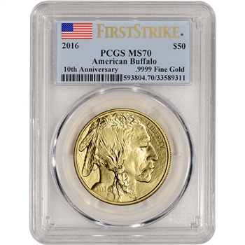 2016 American Gold Buffalo (1 oz) $50 - PCGS MS70 - First Strike