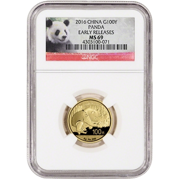 2016 China Gold Panda (8 g) 100 Yuan - NGC MS69 - Early Releases - Panda Label