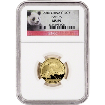 2016 China Gold Panda (8 g) 100 Yuan - NGC MS69 - Red Panda Label
