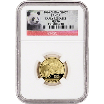 2016 China Gold Panda (8 g) 100 Yuan - NGC MS70 - Early Releases - Panda Label