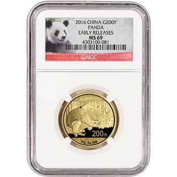 2016 China Gold Panda (15 g) 200 Yuan - NGC MS69 - Early Releases - Panda Label