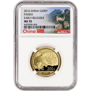 2016 China Gold Panda (15 g) 200 Yuan - NGC MS70 - Early Releases - Great Wall