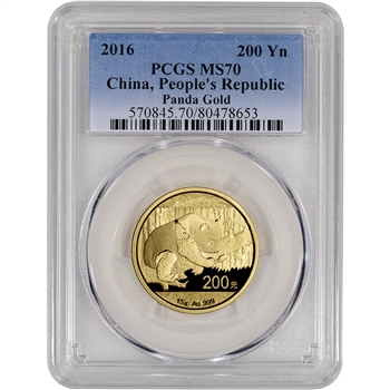 2016 China Gold Panda (15 g) 200 Yuan - PCGS MS70
