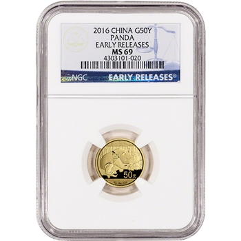 2016 China Gold Panda (3 g) 50 Yuan - NGC MS69 - Early Releases