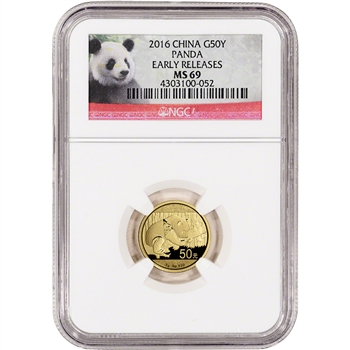 2016 China Gold Panda (3 g) 50 Yuan - NGC MS69 - Early Releases - Panda Label