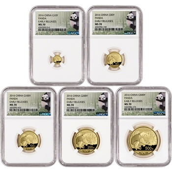 2016 China Gold Panda - 5-pc. Year Set - NGC MS70 - Early Releases Panda Label