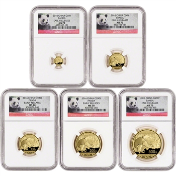 2016 China Gold Panda - 5-pc. Year Set - NGC MS70 - Early Releases - Panda Label