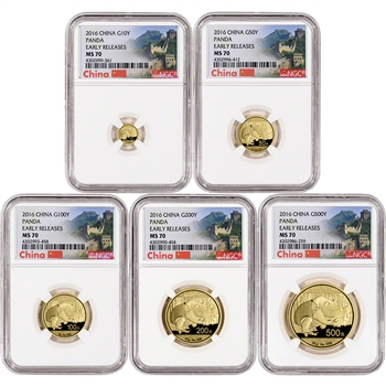 2016 China Gold Panda - 5-pc. Year Set - NGC MS70 - Early Releases - Great Wall