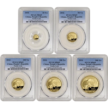2016 China Gold Panda - 5-pc. Year Set - PCGS MS69