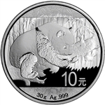 2016 China Silver Panda (30 g) 10 Yuan - BU in Original Capsule