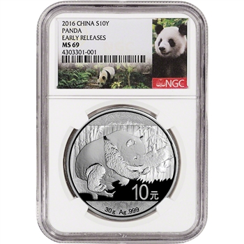 2016 China Silver Panda (30 g) 10 Yuan - NGC MS69 - Early Releases - Panda Label