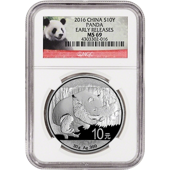 2016 China Silver Panda (30 g) 10 Yuan - NGC MS69 - Early Releases - Red Panda