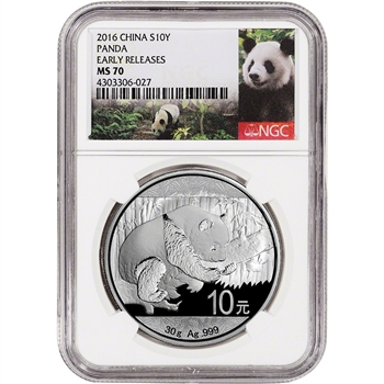 2016 China Silver Panda (30 g) 10 Yuan - NGC MS70 - Early Releases - Panda Label