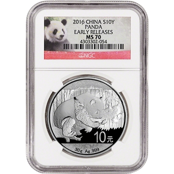 2016 China Silver Panda (30 g) 10 Yuan - NGC MS70 - Early Releases - Red Panda
