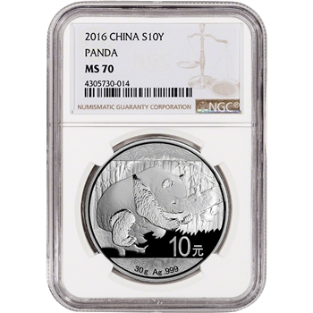 2016 China Silver Panda (30 g) 10 Yuan - NGC MS70 - Large Label