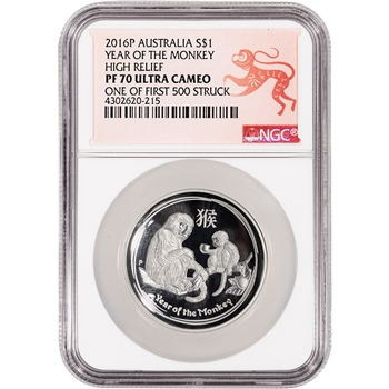 2016-P Australia Silver High Relief Year of the Monkey (1 oz) $1 NGC PF70 Lunar