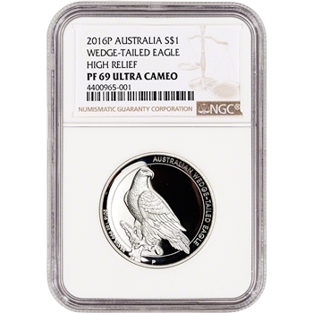 2016-P Australia Silver Wedge-Tailed Eagle High Relief Proof $1 - NGC PF69 UCAM