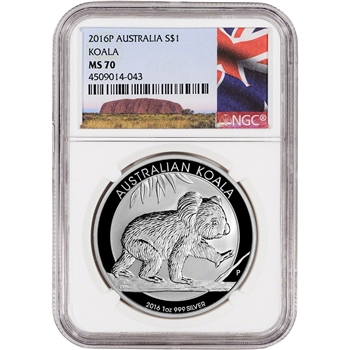 2016 P Australia Silver Koala (1 oz) $1 - NGC MS70 - Ayers Rock Label