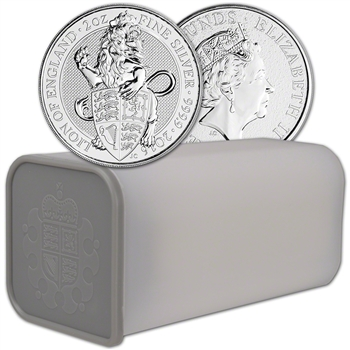 2016 Great Britain Silver Beasts Lion ?5 - 2 oz - 1 Roll - 10 Coins in Mint Tube