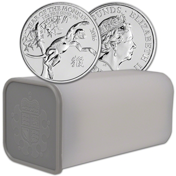 2016 Great Britain Silver Year of the Monkey 1 oz - BU - (Lot, Roll, Tube of 25)