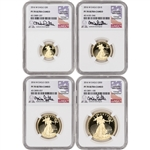 2016-W American Gold Eagle Proof 4-pc Year Set - NGC PF70 UCAM Castle Signed