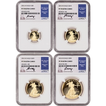 2016-W American Gold Eagle Proof 4-pc Year Set - NGC PF70 UCAM - Moy Signed