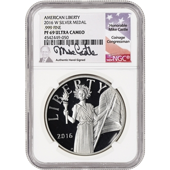 2016-W US American Liberty Silver Medal - NGC PF69 UCAM - Mike Castle Signed