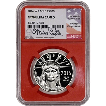 2016-W American Platinum Eagle Proof (1 oz) $100 - NGC PF70 UCAM Red Core Castle